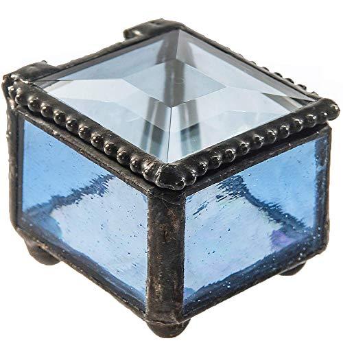 - J Devlin Box 521 Small Blue Stained Glass Ring Box Jewelry Keepsake Ring Dish Decorative Trinket Box