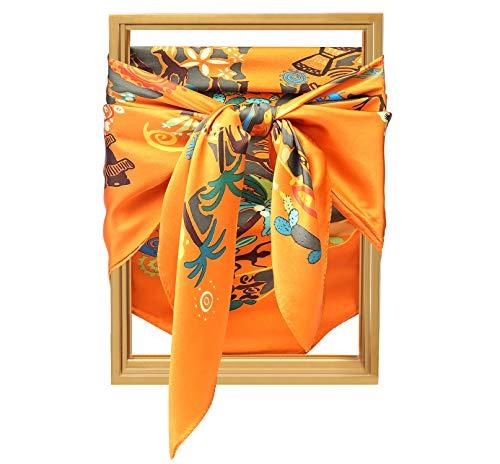 SILIQUE 100% Mulberry Silk Scarfs, Orange Floral Silk Square Scarf, Large Silk Neck Scarfs For Women, Large Silk Scarf 35