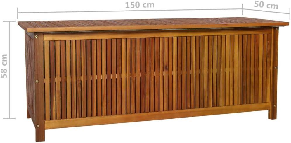 Festnight Outdoor Storage Bench Acacia Wood Garden Deck