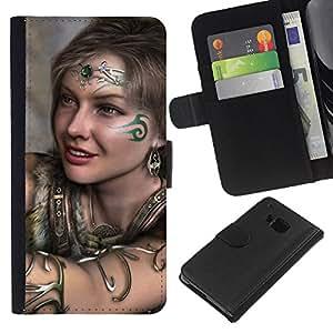 // PHONE CASE GIFT // Moda Estuche Funda de Cuero Billetera Tarjeta de crédito dinero bolsa Cubierta de proteccion Caso HTC One M7 / Cute Tribal Girl /