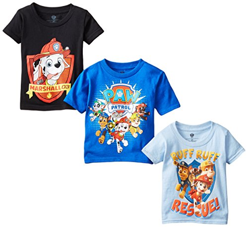 Nickelodeon Little Boys' Toddler Paw Patrol Toddler Boys T-Shirt 3-Pack, Assorted, 4T