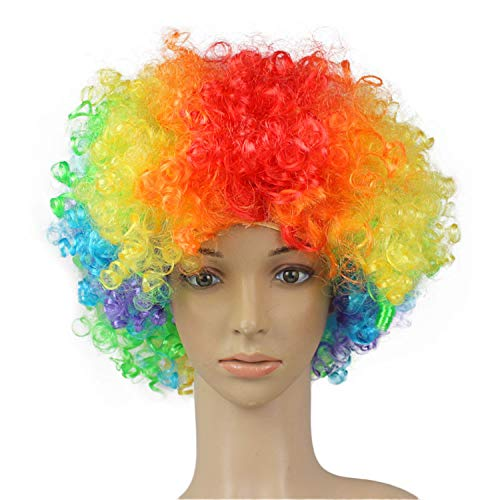(Athli Party Disco Funny Afro Clown Hair Football Fan-Adult Afro Cosplay Masquerade Hair Wig )