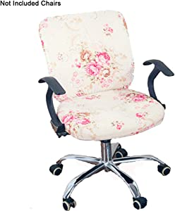 Perktail Removable Office Chair Cover with Floral Pattern Elasticized Dorm Computer Rotating Chair Slipcover Washable Seat and Back Cover (Beige Pink Peony)