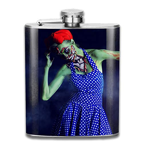 Halloween Makeup Zombie Portable 304 Stainless Steel Leak-Proof Alcohol Whiskey Liquor Wine 7OZ Pot Hip Flask Travel Camping Flagon For Man Woman Flask Great Little Gift ()