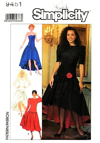 [Simplicity 9451 Misses'/Miss Petite Formal Dress in Two Lengths Sewing Pattern, Vintage 1980s Prom, Party, Wedding] (1980s Dress)
