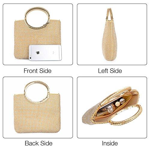 con diamanti manici delle Argento stile elegante Oro a luminosi mano borsetta con donne sera con ampio di cristalli spazio Pochette sacchetto festa borsa Borsa xvfqPq