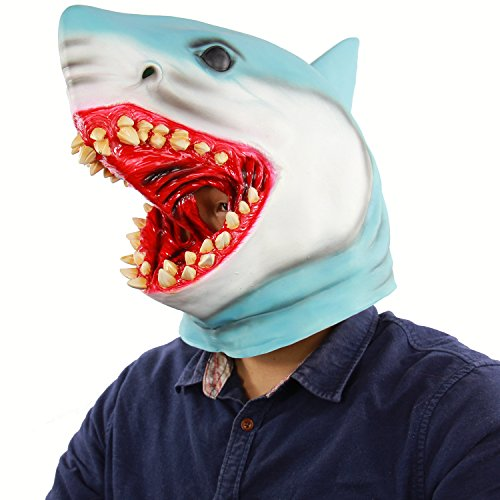 Latex Animal Mask Costume Accessory Novelty Halloween Party Head Mask Shark MaskScary Fancy Dress Party Ocean Fish Cosplay ()