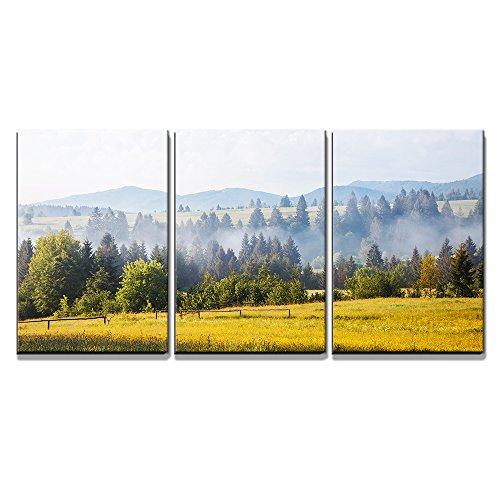 """Wall26 - 3 Piece Canvas Wall Art - Fantastic Day with Fresh Blooming Hills in Warm Sunlight - Modern Home Decor Stretched and Framed Ready to Hang - 16\""""x24\""""x3 Panels"""