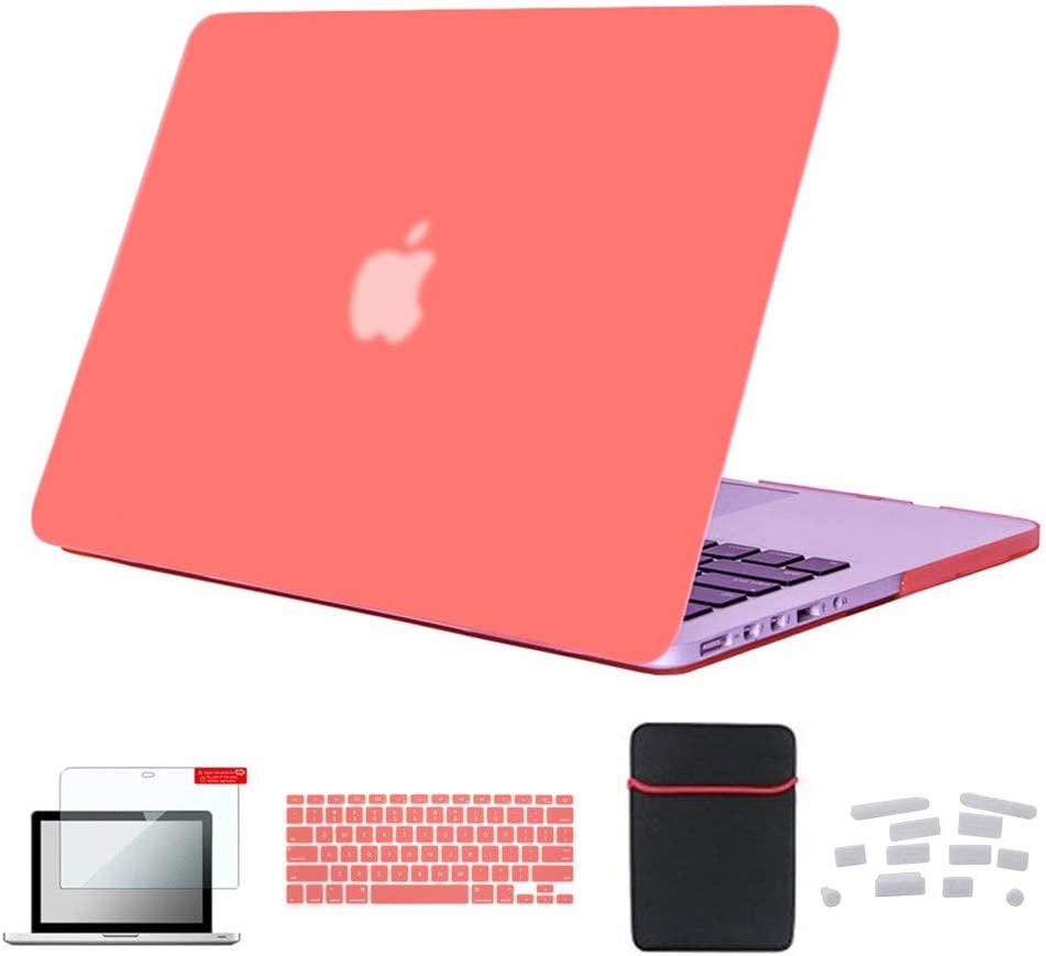 Se7enline MacBook Pro 13 inch Case A1502/A1425 Laptop Cover compatible with MacBook Pro 13-inch Retina Display Mac Book Accessories Keyboard Cover, Sleeve Bag, Screen Protector, Dust Plug,Living Coral