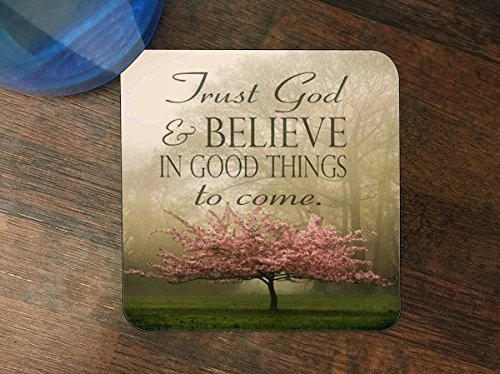 Trendy Accessories Inspirational Christian Quote Design Print Image Silicone Drink Beverage Coaster 4 Pack