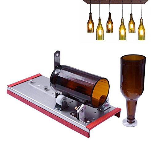 Pawaca Glass Bottle Cutter, Beer Bottle Cutting Kit Tool for DIY Crafting Wine Bottle Lamp, Ornament, Decorations, Creative Vase - Adjust Many Sizes Metal Bottle Cut Machines with Alloy Cutter Head ()
