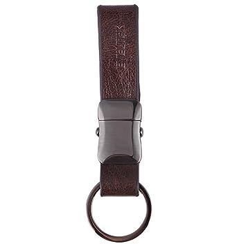 EVELTEK Llavero para Las Llaves, Llaveros de Coche y Llavero De Cuero Para el Cinturón y Caso Clave y Cintura KE-03(Marrón) [Cuero]
