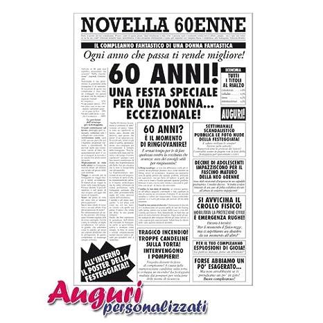 Biglietto Auguri Giornale Compleanno 60 Anni Amica Amazon It