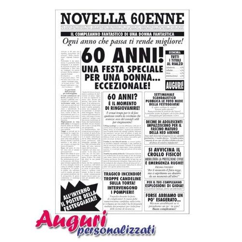 Molto Biglietto auguri giornale compleanno 60 anni amica: Amazon.it  KT74