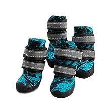 Blue Camouflage Double Belt Rain Non-slip Pet Dogs Snow Boots Shoes (8# 7.8(L)*6.0(W)*10.5(H)cm)