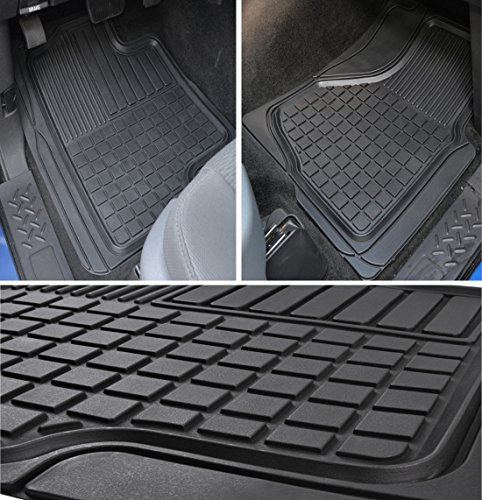 Front Piece 2 Floor Liners - Motor Trend MT-153-BK Black FlexTough Custom Liners Heavy Duty Rubber Floor Mats for Ram Pickup Truck 2009-2014 (2 Piece)