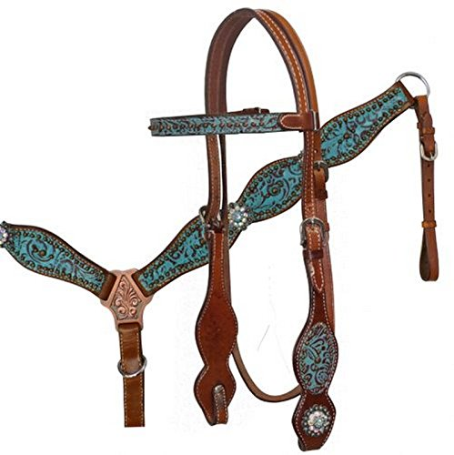 (Leather Bridle & Breastcollar Set w/ TEAL Filigree Print & Crystal Conchos)