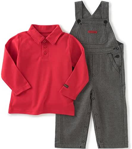 Calvin Klein Baby Boys' Overall with Polo Top Set