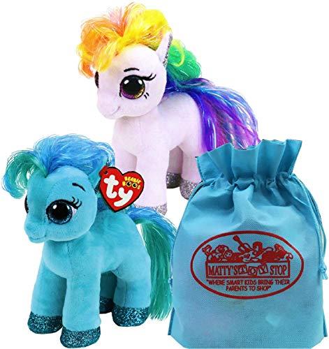 Ty Beanie Boos Ponies Starr & Topaz Gift Set Bundle Includes Bonus Matty's Toy Stop Storage Bag - 2 Pack ()