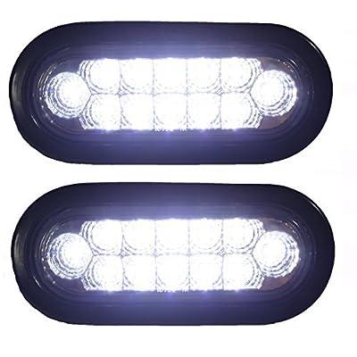 "6"" Oval LED Backup Reverse Fog White Light w Grommet Plug Truck Trailer Chrome Reflector STRONG LIGHT 2 Pc: Automotive"