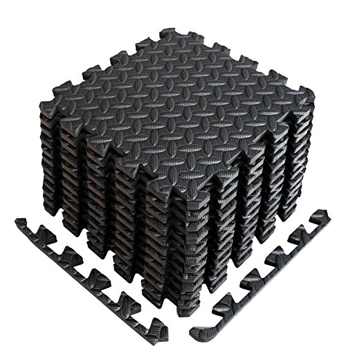 ise Mat with EVA Foam Interlocking Tiles (Protective Flooring) - 3 YEAR Limited Warranty with 60 day - Perfect for Home Gym, Aerobic, Yoga & Pilates (Black-12pcs with Border Tiles) ()