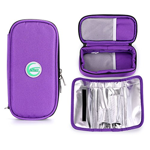 BTSKY Insulin Cooler Travel Case- Portable Diabetics Medication Insulated Cooling Bag for Insulin Pens with Temperature Display, Cools up to 10 Hours, NO Ice Packs (Purple) ()