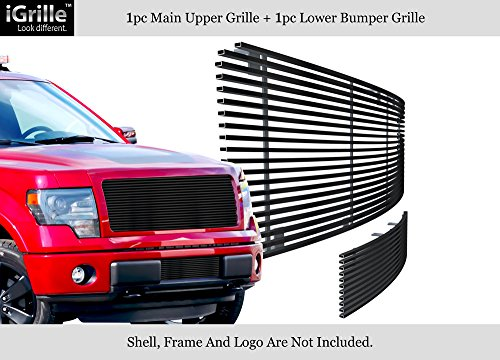 (APS Compatible with 2009-2014 Ford F150 Black Stainless Steel Billet Grille Upper+Lower F86614J)