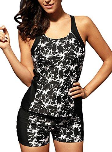Summer Women Floral Print Racerback Tankini Top With Boyshort Two Piece Swimsuit Bikini Swimwear Black M 8 10