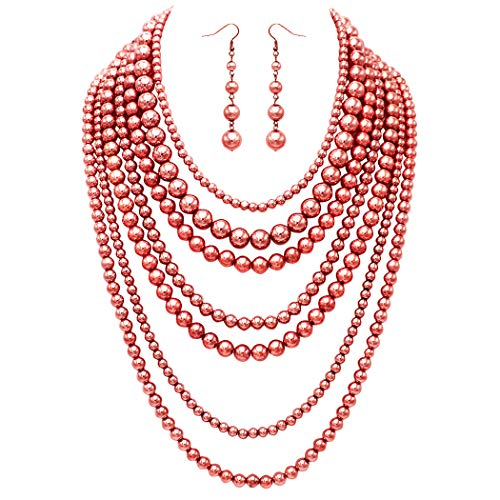 Rosemarie Collections Women's Fashion Jewelry Set Beaded Multi Strand Bib Necklace (Polished Copper Tone)