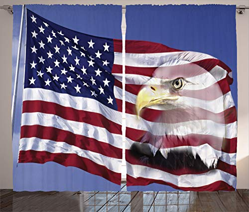 "Ambesonne American Flag Curtains, Bless America Flag in The Wind with Eagle Double Exposure Citizen Image, Living Room Bedroom Window Drapes 2 Panel Set, 108"" X 96"", Blue Red"