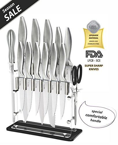 Super Sharp!!! 14 Piece Stainless Steel kitchen Knife Block Set - 8' Chef, 8' Bread, 8' Carving, 5' Utility, 3½' Paring, 4½' Steak Knives, Scissors, Sharpener & Stand -The Best Gift, By Stone boomer