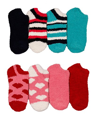 2ND DATE Women's Winter Fuzzy Slipper Socks-D-CUT-Pack of 6