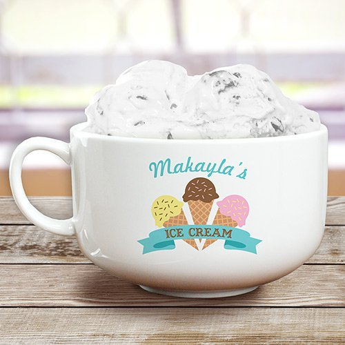 GiftsForYouNow Triple Cone Personalized Ice Cream Bowl, 32 oz.