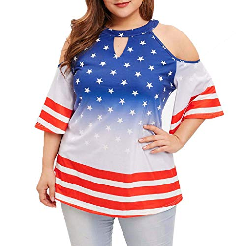 Womens Sexy Plus Size Short Sleeve American Flag Star Print Blouse T Shirt Casual Off Shoulder Tank Independence Day Clothes (Blue, Medium) by Swiusd Dresses[Clearance] (Image #2)