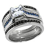 Panvisionary Thin Blue Line Stainless Steel Cz Engagement Ring Three Ring Set 6