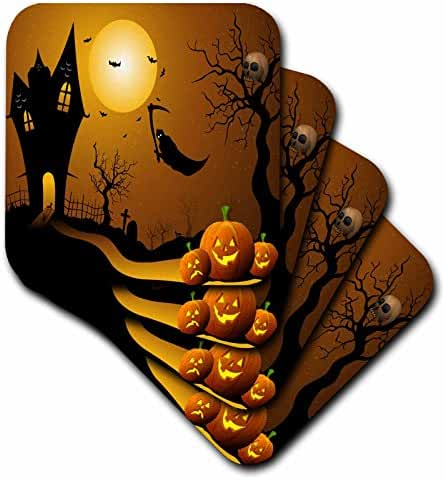 3dRose cst_152289_1 Halloween House with Pumpkins Skulls Bats and The Grim Reaper Soft Coasters, Set of 4