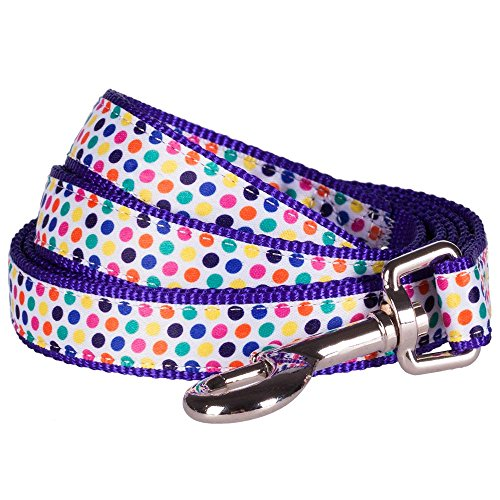 "Blueberry Pet Durable Multicolor Polka Dot Designer Dog Leash 5 ft x 5/8"" in Purple, , Small, Leashes for Dogs"