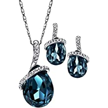 """Neoglory Angle Tear Made with Swarovski Elements Crystal Jewelry Set, Pendant Necklace, Earrings,18"""""""