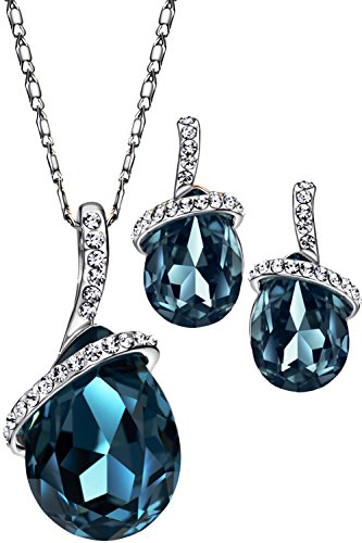 Neoglory Platinum Plated Angle Teardrop Crystal Jewelry Set, Pendant Necklace, Earrings,18