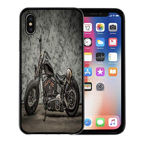 (Semtomn Phone Case for Apple iPhone Xs case,Harley Motorcycle Cool Davidson Vintage Bike Chopper Classic for iPhone X Case,Rubber Border Protective Case,Black)