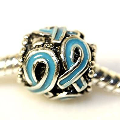 bf1f692ce ... Survivor Charm Available in White, Green, Blue, Purple, Pink & Red Bead  Pandora Troll Chamilia Kay Zable Compatible (BLUE): Cell Phone Charms:  Jewelry