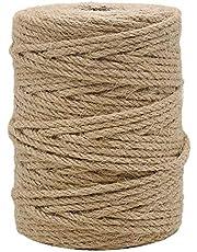 حبل جوت طبيعي مزدوج للاعمال والحرف اليدوية وتغليف وتعبئة الهدايا والبستنة، بلون بني بسُمك 4 ملم من تين ويل