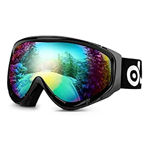 Odoland Ski Goggles for Youth Age 8-16 – UV400 Protection and Anti-Fog – Double Grey Spherical Lens for Sunny and Cloudy Days (Black)