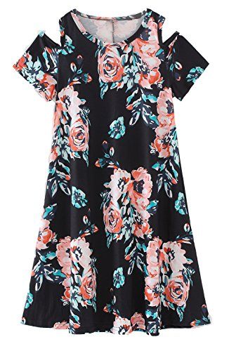COONITA Girl's Kids Cute Cold Shoulder Floral Print A-Line Loose Casual Midi Tank Dress,Size 6,Black