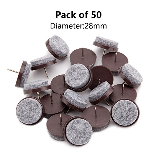 50pcs Round Heavy Duty Felt Furniture Pads,Ulifestar Nail On Furniture Sliders Hardwood Floor Protectors for Chair Table Desk Desser Cabinet Sofa Couch Leg Feet Non Slip Glides Dia 28mm/1.1'' (Brown)