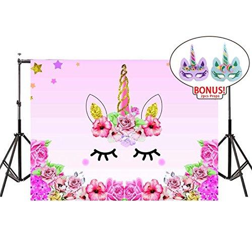 Soobuy Unicorn Themed Birthday Party Photography Backdrop, Unicorn Photo Background with Unicorn Masks for Baby Shower Dessert Table, 7x5ft
