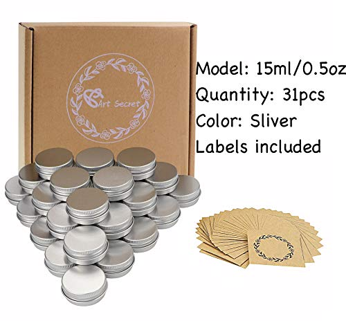 Screw Top Aluminum Tin Jars Tins Empty Container with Lip and 30Pcs Marking Labels for Candle, Lip Balm, Salve, Make Up, Eye Shadow, Powder (30Pcs 0.5oz./15ml)
