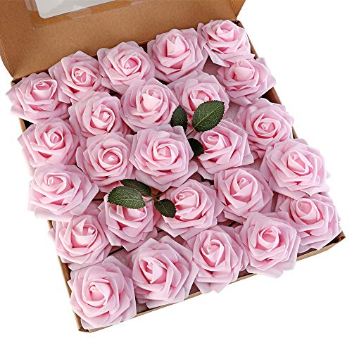 LUSHIDI Light Pink 25pcs Artificial Flowers Real Looking Fake Roses w/Stem for DIY Wedding Bouquets Centerpieces Baby Shower Party Home Decor ()