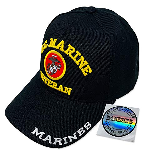 (DANKONG U.S. Marine Hat -Official Licensed US Military 3D Embroidered Baseball Cap with Size Adjustable Hoop and Loop Closure for Men and Women - U.S. Marine - Veteran -)