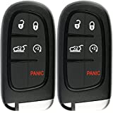 KeylessOption Keyless Entry Remote Start Smart Car Key Fob Alarm for Jeep Cherokee, GQ4-54T (Pack of 2)